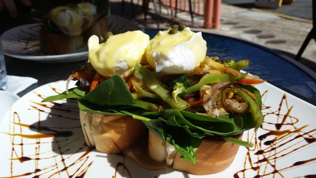The unusual and delicious Eggs Benedict found at the Ocean Park Cafe, a place we discovered on Yelp