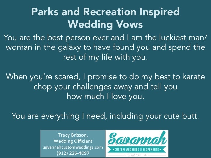 Parks and Recreation Inspired Wedding Vows