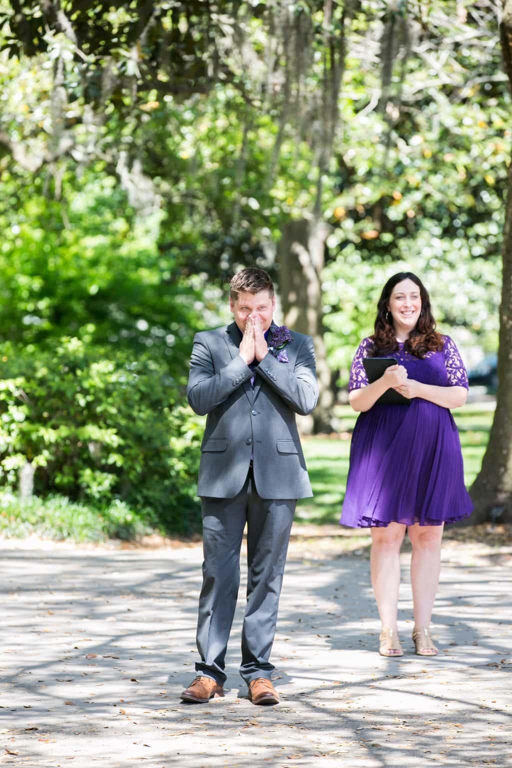 Groom reaction to bride
