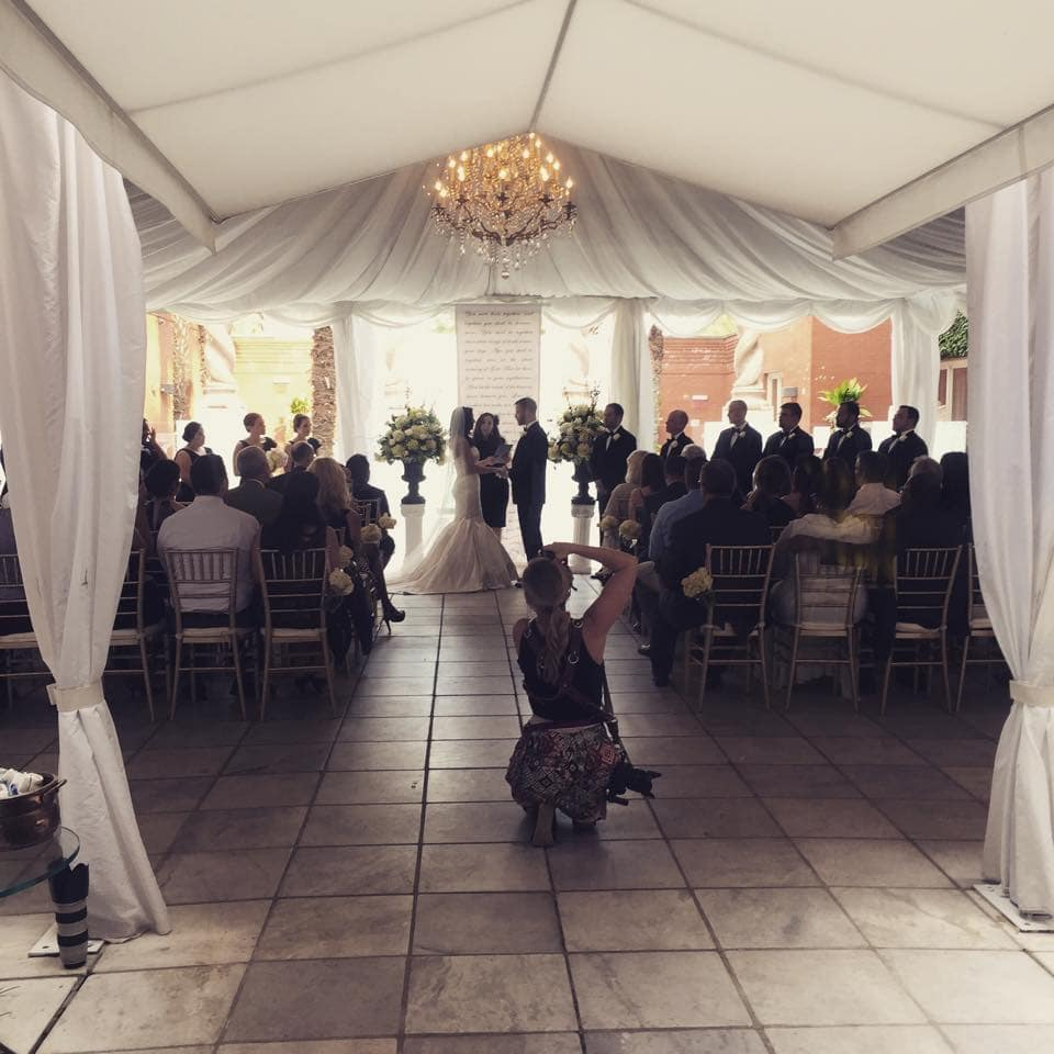 Wedding ceremony at mansion on Forsyth Park
