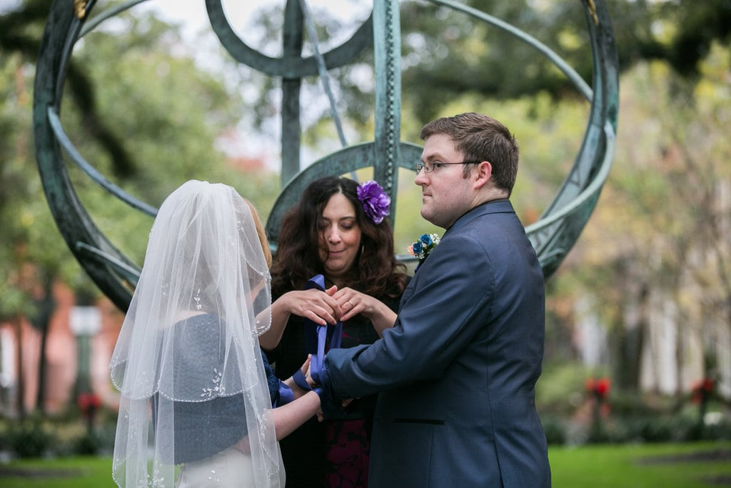 handfasting in troup square in Savannah