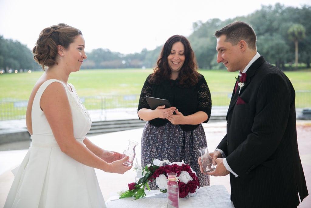 sand ceremony ritual in Savannah wedding ceremony