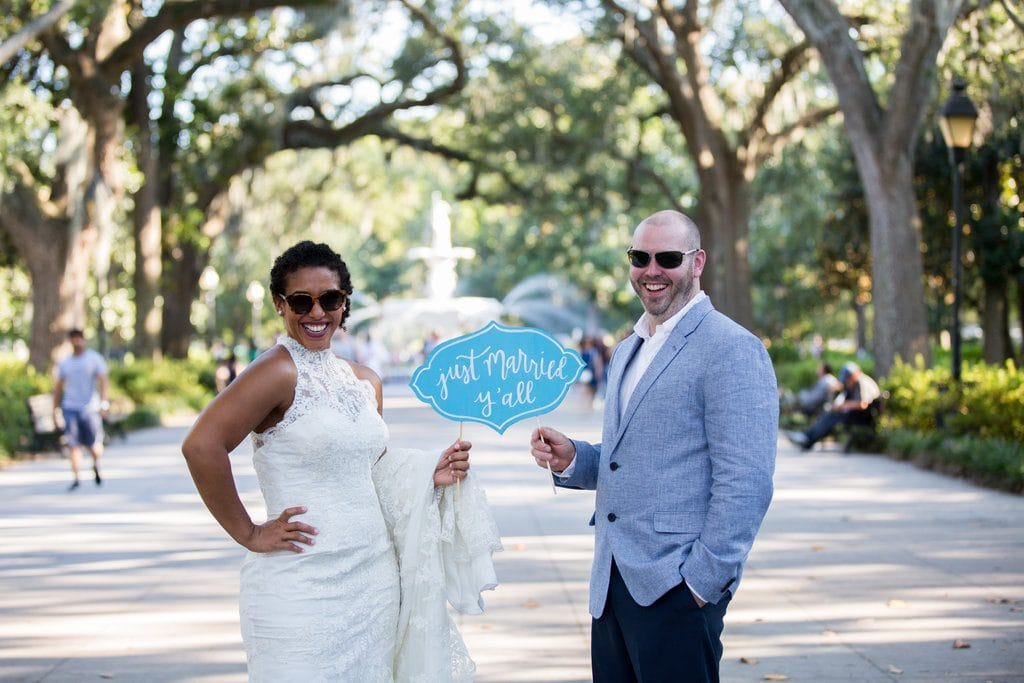 just married at forsyth park savannah