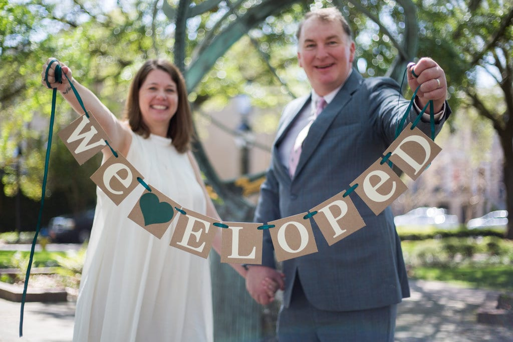 Elopement in Troup Square in Savannah