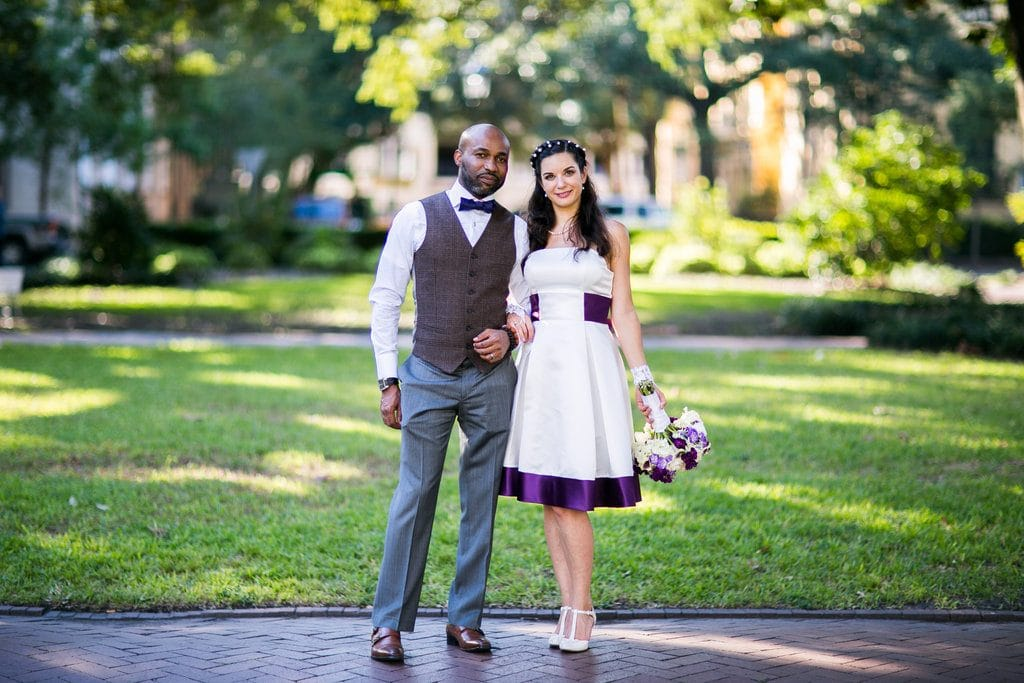 Purple elopement dress