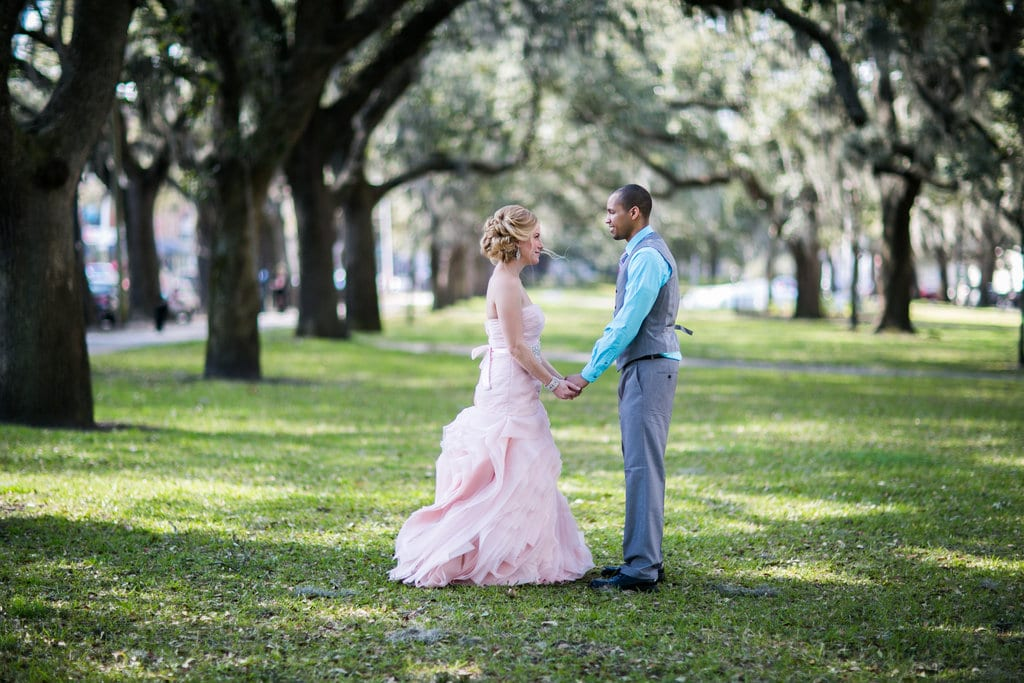 blush wedding dress in Savannah